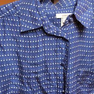 J Crew Woman's Silk Blouse 0 Blue White Polka Dots